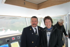 Captains bridge visit on Ama Waterways ship