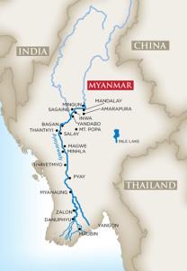 Myanmar River Cruise Map