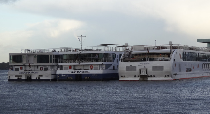 River cruise ships docked in Amsterdam