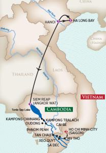 Vietnam Cambodia River Cruise Map