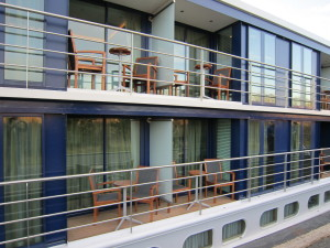Outside view of a river cruise ship