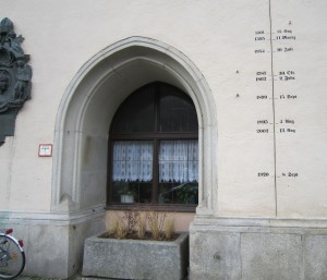 High water mark level in Passau Germany