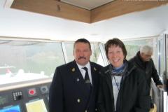 Captains bridge visit on Ama Waterways ship