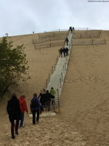 Walking up the stairs at Dune du Pilat