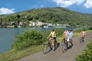 Biking along Moselle Rive