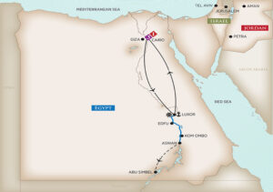 Egypt and the Nile River cruise itinerary map
