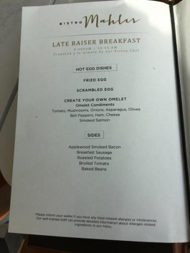 Crystal Dining Bistro Late Breakfast menu
